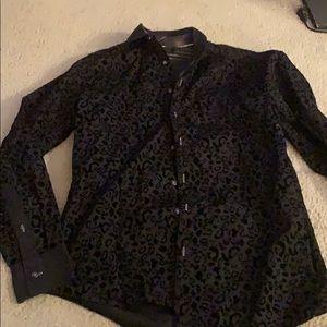 Black leopard print  button up